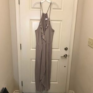 NWT Taupe Faux Wrap Dress w/ Hi Front Slit
